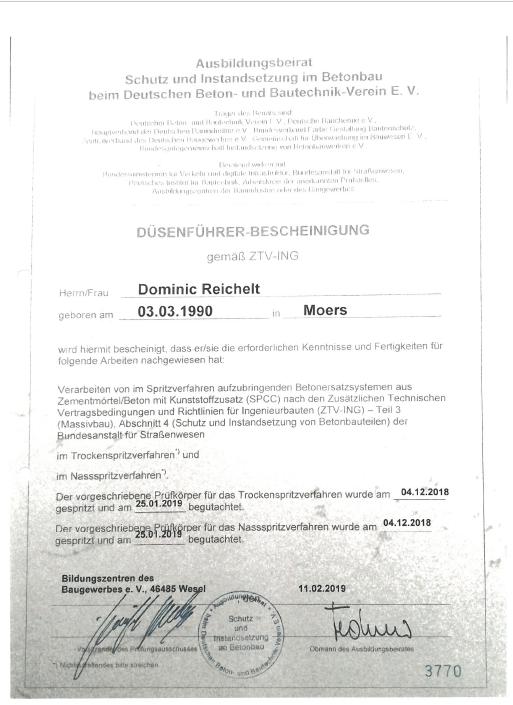 Zertifikat Dominic Reichelt